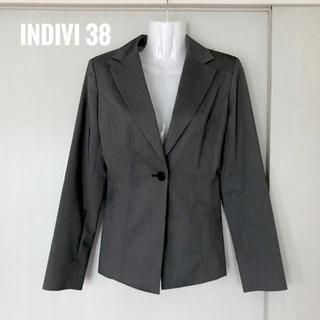インディヴィ(INDIVI)のindivi レディース パンツスーツ 上下 グレー光沢 38(スーツ)