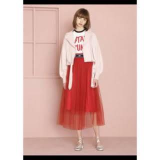ファーファー(fur fur)のFURFUR チュールスカート 赤(ひざ丈スカート)