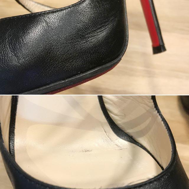 Christian Louboutin(クリスチャンルブタン)の美品 ルブタン ハイヒール サンダル ブラック 黒 レザー 37 23.5cm レディースの靴/シューズ(サンダル)の商品写真