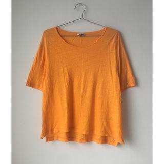 アクネ(ACNE)のACNE ビビット オレンジ リネン 100% 麻 シンプル トップス 秋色(Tシャツ(半袖/袖なし))