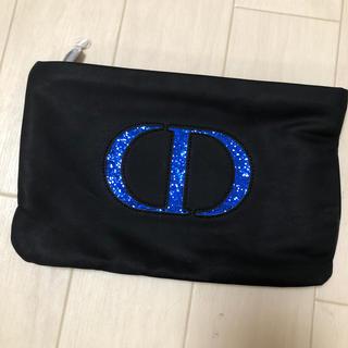 ディオール(Dior)のDior ディオール ノベルティ ポーチ クラッチ 非売品 黒 青 ラメ(ノベルティグッズ)