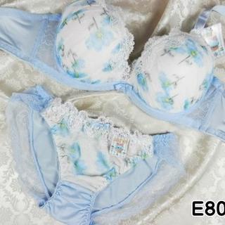 050★E80 L★美胸ブラ ショーツ レース コスモス 水色(ブラ&ショーツセット)