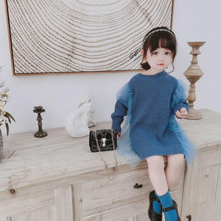 KWBA018春秋冬子供服 ゆったり ニットワンピース(4色80-130)(ワンピース)