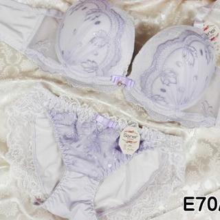 005★E70 M★ブラ ショーツ 姫系レース&刺繍 紫(ブラ&ショーツセット)
