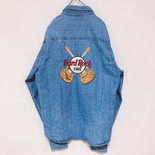 古着 Hard Rock CAFE ハードロックカフェ デニム 刺繍シャツ(シャツ)