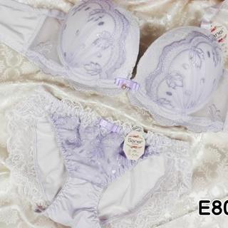 064★E80 L★ブラ ショーツ 姫系レース&刺繍 紫(ブラ&ショーツセット)
