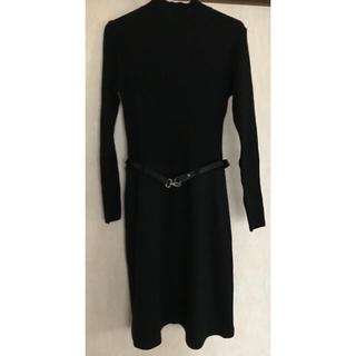 クリスチャンオジャール(CHRISTIAN AUJARD)のクリスチャンオジャール ニットワンピース ベルト付き 黒 M(ひざ丈ワンピース)