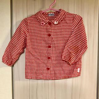 ミキハウス(mikihouse)のミキハウス 美品 赤チェックブラウス 80(シャツ/カットソー)