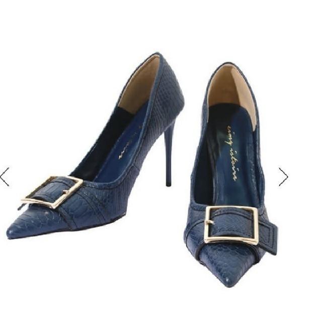 eimy istoire(エイミーイストワール)のバックルポイントテクスチャーパンプス ブルー レディースの靴/シューズ(ハイヒール/パンプス)の商品写真