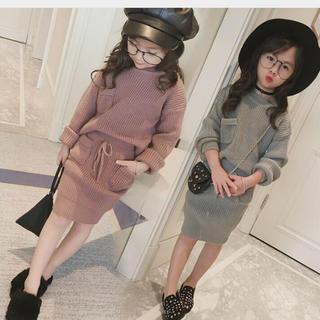 韓国子供服 おませさんニットワンピース