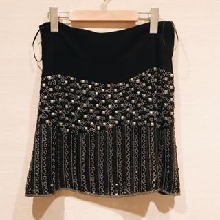 ルシェルブルー(LE CIEL BLEU)の⭐️ ビーズ刺繍 シルバー ブラック スカート 新品未使用(ミニスカート)