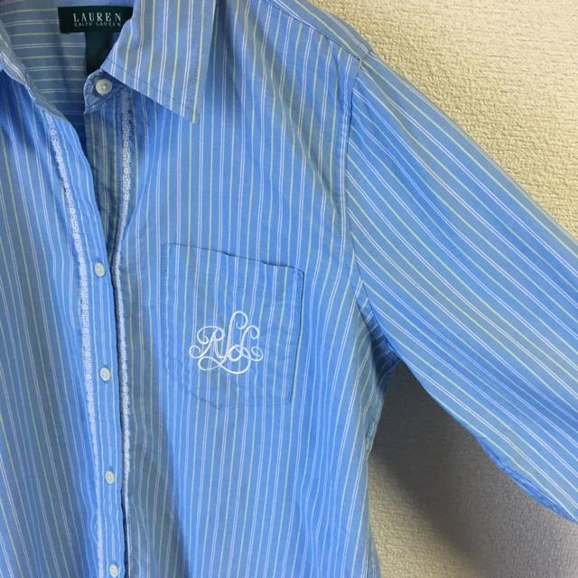 Ralph Lauren(ラルフローレン)のLAUREN ラルフローレン レース 刺繍 シャツ US古着 大きめMサイズ程度 レディースのトップス(シャツ/ブラウス(長袖/七分))の商品写真