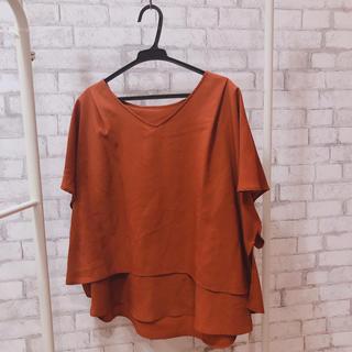 インデックス(INDEX)のindex 2wayシャツ 半袖 秋服 インデックス ブラウン オレンジ(カットソー(半袖/袖なし))