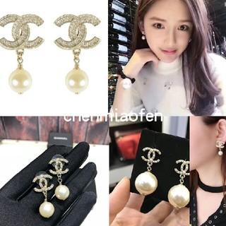 CHANEL -  chanelシャネルのイヤリングの双C経典の金の真珠はイヤリングの水ドリルの金