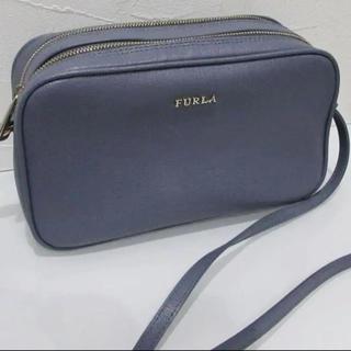 Furla - 美品 FURLA ショルダーバッグ リリー ダブルジップ ブルー グレー