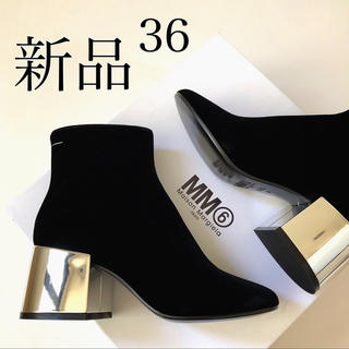 マルタンマルジェラ(Maison Martin Margiela)の新品 MM6 メゾン マルジェラ ベロア ミラーヒール ブーツ ブラック 36(ブーツ)