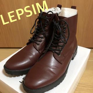 レプシィム(LEPSIM)の美品 レプシム  LEPSIM レースアップブーツ ワイン L(ブーツ)