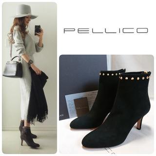 PELLICO - 新品 PELLICO バックジップ スタッズ ブーツ ブラック 定価82080円
