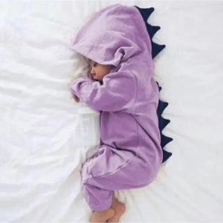 【新品未使用】恐竜ロンパース 90cm パープル 紫 ベビーロンパース