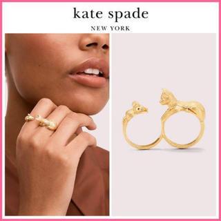ケイトスペードニューヨーク(kate spade new york)の【新品¨̮♡︎】ケイトスペード ネコ&ネズミ ダブルリング(リング(指輪))