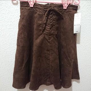 シマムラ(しまむら)の新品 レースアップ スエード フレア スカート♥️L GU(ひざ丈スカート)