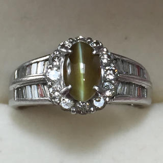 キャッツアイ1.17ct ダイヤ0.62ct pt900 プラチナリング 指輪