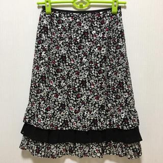 ニューヨーカー(NEWYORKER)のNEWYORKER  大人可愛い花柄フリルスカート(ひざ丈スカート)