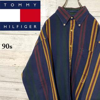 トミーヒルフィガー(TOMMY HILFIGER)の【激レア】トミーヒルフィガー☆刺繍ロゴ マルチストライプ 長袖BDシャツ 90s(シャツ)