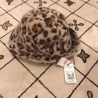 ELLE - 【新品未使用】 ELLE レオパード柄 ハット 帽子 もこもこ 秋冬ファッション