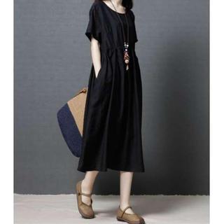 【大きめサイズ】リネン コットン ワンピース 麻綿 体型カバー  XL ブラック(ロングワンピース/マキシワンピース)
