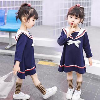子供の海軍風スカート 長袖 蝶結び キッズ ワンピース(ワンピース)