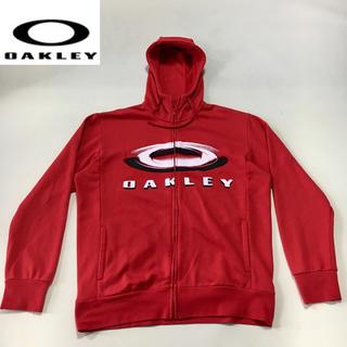 オークリー(Oakley)のオークリー◆ジップアップ パーカー◆レッド  XLサイズ(ウエア)