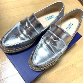 アメリヴィンテージ(Ameri VINTAGE)の【EVOL】プラットフォームローファー シルバー 厚底 おじ靴(ローファー/革靴)