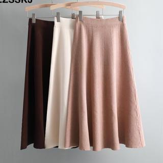 ザラ(ZARA)のニット フレアスカート 膝丈 ノーブランド フリーサイズ ピンク(ひざ丈スカート)
