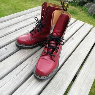ドクターマーチン(Dr.Martens)のイングランド製 ドクターマーチン 10ホール UK3 赤 22cm 1490(ブーツ)