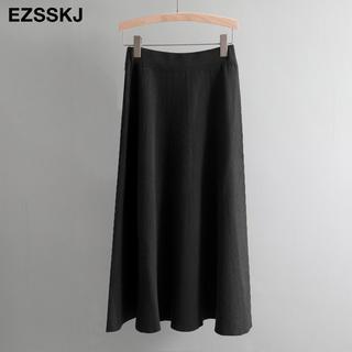 ザラ(ZARA)のニット フレアスカート 膝丈 ノーブランド ワンサイズ ブラック(ひざ丈スカート)