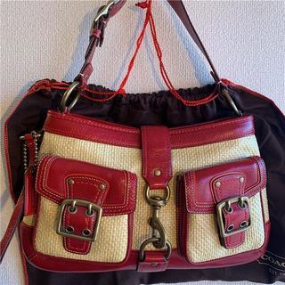 美品 COACH 約5万 本革×麻(又は竹)バッグ