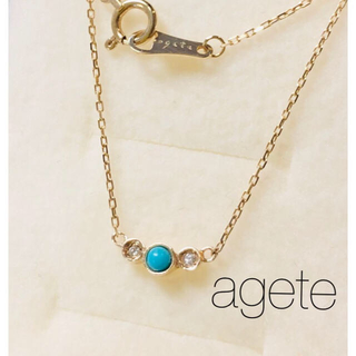 agete - 【agete】K10YG ターコイズ ダイヤ ネックレス