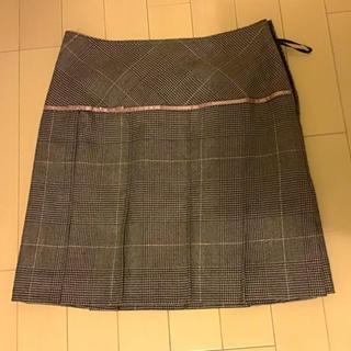 ミツコシ(三越)のグレンチェック ダークブラウン 秋冬スカート(ひざ丈スカート)