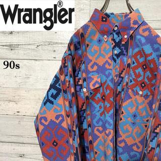 ラングラー(Wrangler)の【レア】ラングラー☆ネイティブ柄 総柄 長袖BDウエスタンシャツ 90s(シャツ)