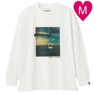ジーユー(GU)の◆ GU polaroid Tシャツ ビッグT 長袖 ホワイト M(Tシャツ/カットソー(半袖/袖なし))