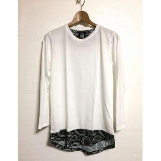 人気 メンズ  ロング丈 長袖 Tシャツ 裾切替 カットソー 白   M(Tシャツ/カットソー(七分/長袖))