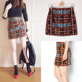 ラグナムーン(LagunaMoon)のネイティブ柄 台形スカート(ミニスカート)