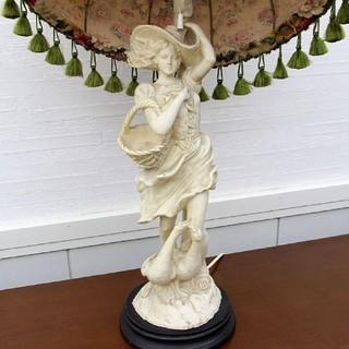 イタリア製 石膏 マリア像  大型ランプスタンド台  貴婦人 ランプ台