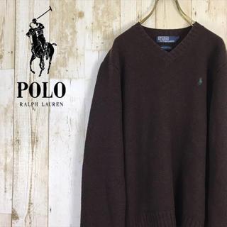POLO RALPH LAUREN - ポロ ラルフローレン ニット セーター ワンポイント ラムウール ブラウン