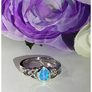 SILVER925  人工オパール 鮮やかブルー 13号(リング(指輪))