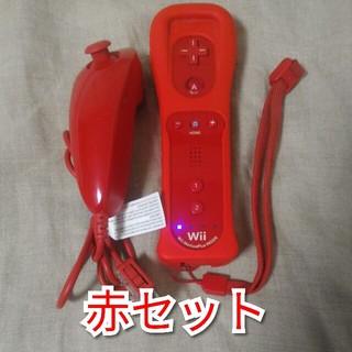 ウィー(Wii)のwiiリモコンプラス赤、ジャケット赤、ヌンチャク赤、 ストラップ 各1個(その他)