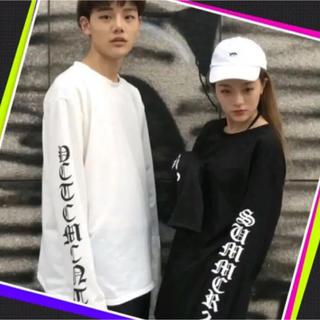 男女兼用!!  ロゴ ロングスリーブTシャツ 韓国ストリート系 ユニセックス(Tシャツ/カットソー(七分/長袖))