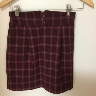 ジーユー(GU)の女子赤チェックスカート(スカート)