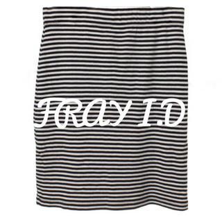 フレイアイディー(FRAY I.D)のFRAY I.D  黒×白 ボーダー柄 ニット ひざ丈 タイトスカート(ひざ丈スカート)